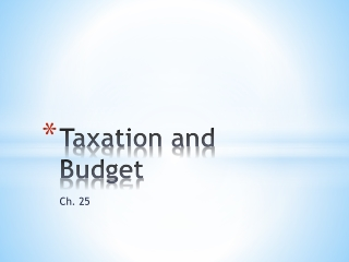 Taxation and Budget