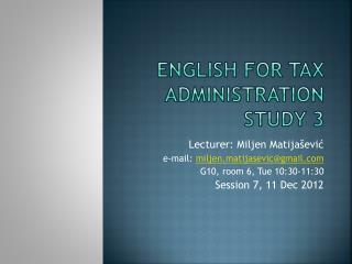 English for Tax Administration Study 3
