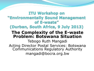 "ITU Workshop on  ""Environmentally Sound Management of E-waste"" (Durban , South Africa, 9 July 2013)"