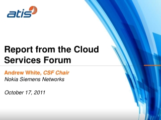 Report from the Cloud Services Forum