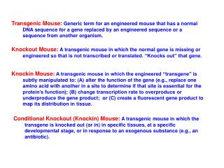 transgenic mouse: generic term for an engineered mouse that has a normal dna sequence for a gene replaced by an engineer