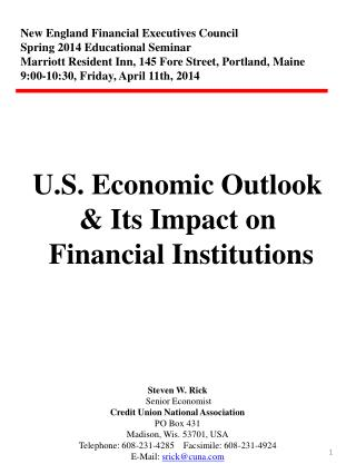 New England Financial Executives Council Spring 2014 Educational Seminar Marriott Resident Inn, 145 Fore Street, Portla