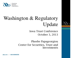 Washington  & Regulatory  Update
