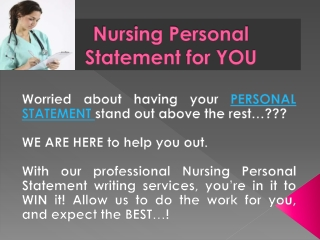 Nursing Personal Statement