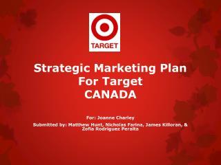 Strategic Marketing Plan For Target CANADA