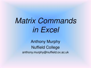 Matrix Commands  in Excel