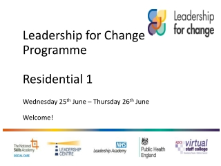 Leadership  for Change  Programme Residential 1  Wednesday 25 th  June – Thursday 26 th  June Welcome !