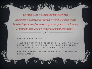 Learning Goal 3: Management of Resources