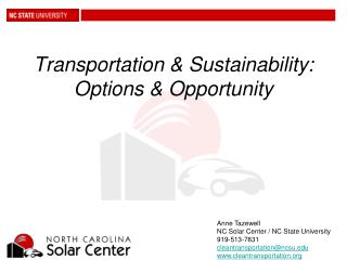 Transportation & Sustainability: Options & Opportunity