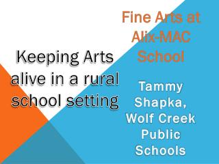 Keeping Arts alive in a rural s chool setting
