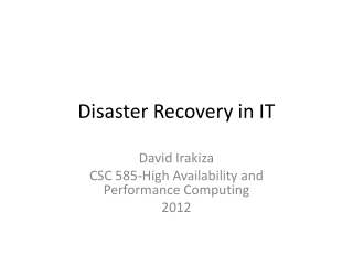 Disaster Recovery in IT