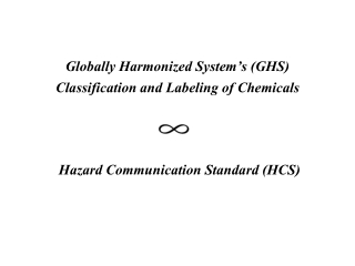 Globally Harmonized  System's  (GHS)  Classification  and Labeling of  Chemicals Hazard Communication Standard (HCS )