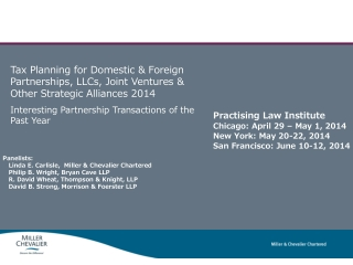 Practising  Law Institute Chicago: April 29 – May 1, 2014 New York: May 20-22, 2014 San Francisco: June 10-12, 2014