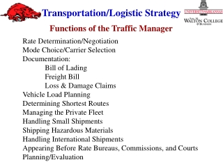 Rate Determination/Negotiation Mode Choice/Carrier Selection Documentation: 	Bill of Lading 	Freight Bill 	Loss & Da