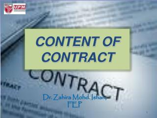 CONTENT OF CONTRACT