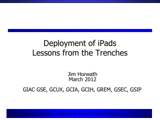 Deployment of iPads  Lessons from the Trenches