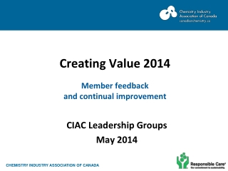 Creating Value 2014 Member feedback  and continual improvement