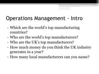 Operations Management - Intro