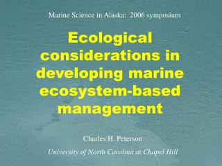 Ecological considerations in developing marine ecosystem-based management