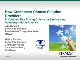Julie Schwartz Senior Vice President Research and Thought Leadership ITSMA Marilou Barsam
