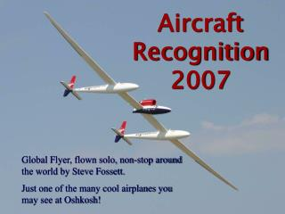 Aircraft Recognition  2007