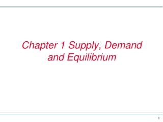 Chapter 1 Supply, Demand and Equilibrium