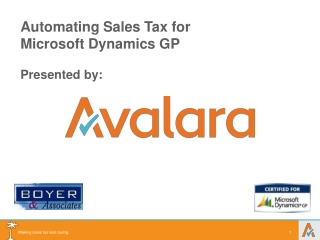Automating Sales Tax for Microsoft Dynamics  GP Presented by: