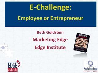 E-Challenge: Employee or Entrepreneur