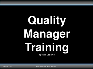 Quality Manager Training Updated  May  2014