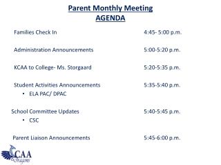 Parent Monthly Meeting AGENDA