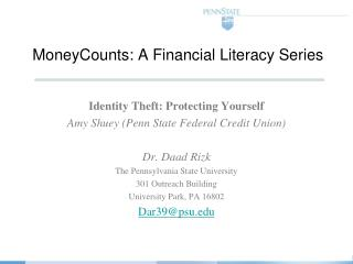 MoneyCounts : A Financial Literacy Series