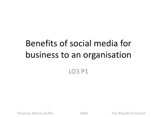 Benefits of social media for business to an organisation