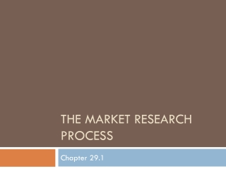 The Market Research Process