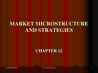MARKET MICROSTRUCTURE AND STRATEGIES