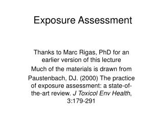 Exposure Assessment
