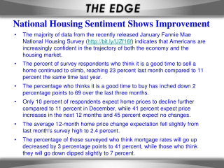 National Housing Sentiment Shows Improvement