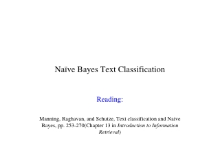 Naïve  Bayes  Text Classification
