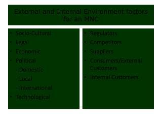 External and Internal Environment factors for an MNC