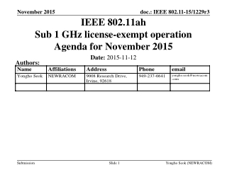 IEEE 802.11ah Sub 1 GHz license-exempt operation Agenda for November 2015