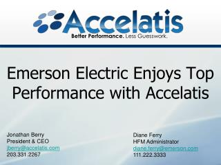 Emerson Electric Enjoys Top Performance with Accelatis