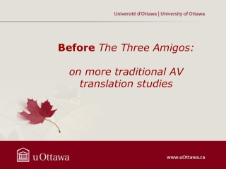 Before The  Three  Amigos: on more  traditional  AV translation  studies