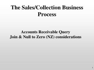 The Sales/Collection Business Process