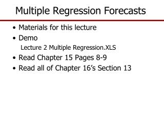 Multiple Regression Forecasts
