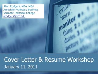 Cover Letter & Resume Workshop