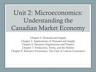 Unit 2: Microeconomics:  Understanding the Canadian Market Economy