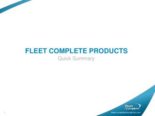 FLEET COMPLETE PRODUCTS