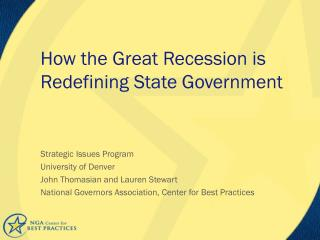 How  the Great Recession is Redefining State Government