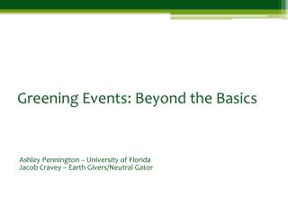 Greening Events: Beyond the Basics