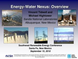 Energy-Water Nexus: Overview
