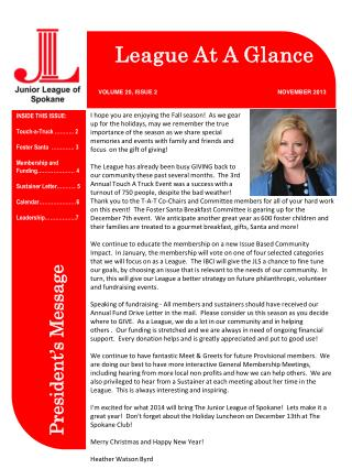 League At A Glance VOLUME 20, ISSUE 2                     NOVEMBER 2013